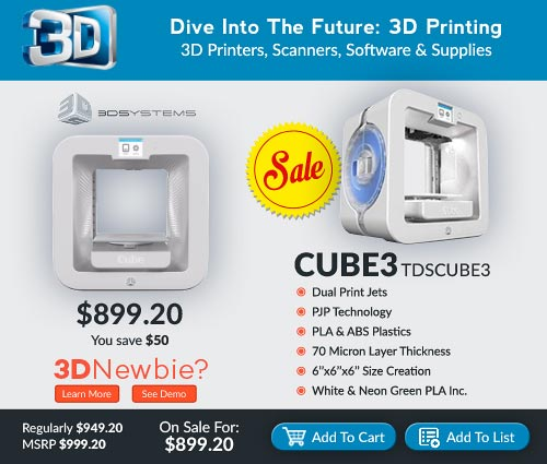 3D Systems Cube3 on Sale for $899.20