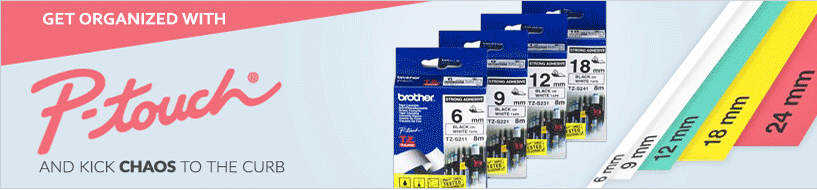 Get Organized with Brother P-touch Labeling Tapes in All Sizes