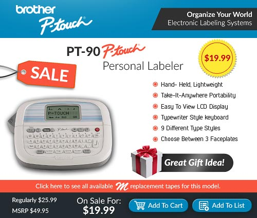 Brother P-touch PT-90 on Sale for $19.99